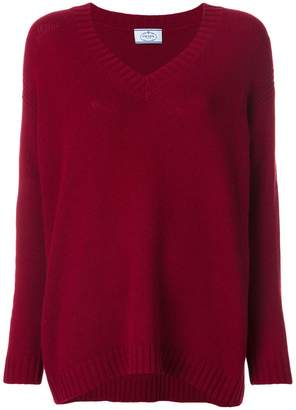 Prada V-neck suede elbow patch jumper