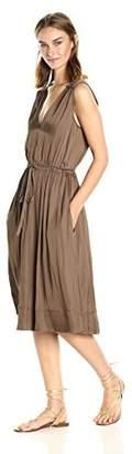 BCBGMAXAZRIA Azria Women's Katia Low V-Neck Ruffle Woven City Dress