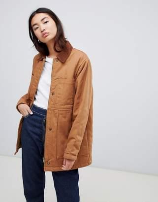 Asos Design DESIGN oversized denim wadded jacket with cord collar in camel
