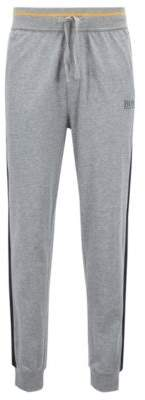BOSS Hugo Loungewear pants in pure cotton contrast stripe detail L Grey