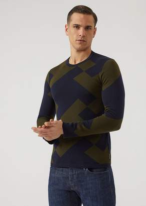 Emporio Armani Pure Virgin Wool Jumper With Maxi Houndstooth Motif