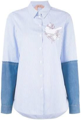 No.21 appliqué denim sleeve shirt
