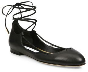 Diane von Furstenberg Paris Leather Lace-Up Ballet Flats $228 thestylecure.com