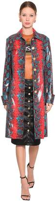 Versace Snake Printed Leather Coat