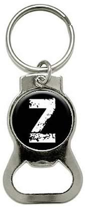 Generic Z Letter Black White Distressed Bottle Cap Opener Keychain Ring