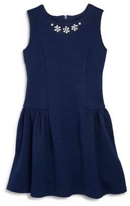 Us Angels Girls' Textured Knit Embellished Dress - Little Kid