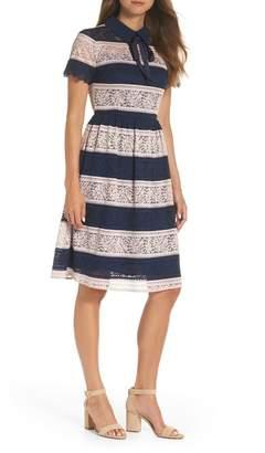 1901 Stripe Lace Fit & Flare Dress (Regular & Plus Size)