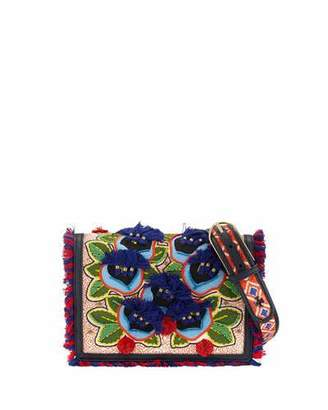 Tory Burch Embroidered Floral Flap Crossbody Bag, Natural/Red/Blue $450 thestylecure.com