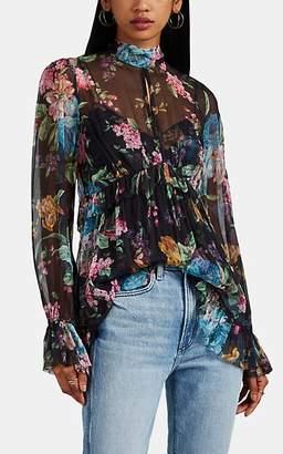 Zimmermann Women's Moncur Floral Silk Chiffon Keyhole-Neck Blouse - Black