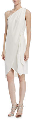 Halston One-Shoulder Tie-Waist Cocktail Dress