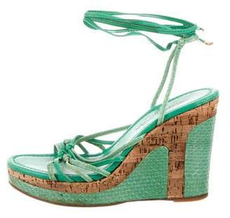 Louis Vuitton Snakeskin Platform Wedge Sandals