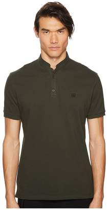 The Kooples Officer Collar Polo Shirt with Contrasting Trim Men's Short Sleeve Pullover