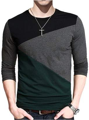 Lintimes Men's Casual Crew Neck Long Sleeve T-Shirt Contrast Color Slim Fit Tops Color:Black Gray Green Size:XL