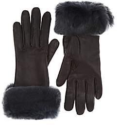 Barneys New York Women's Fur-Trimmed Nappa Leather Gloves - Gray