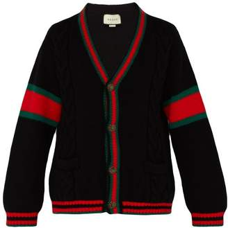 Gucci Oversize Web Stripe Cable Knit Cardigan - Mens - Black Red