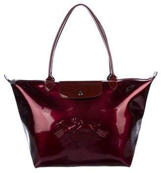 Longchamp Patent Medium Le Pliage Tote