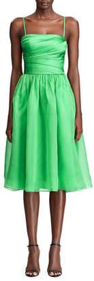 Ralph Lauren Annora Gathered Silk-Taffeta Midi Dress