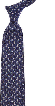 Salvatore Ferragamo Navy Ski Bear Silk Tie