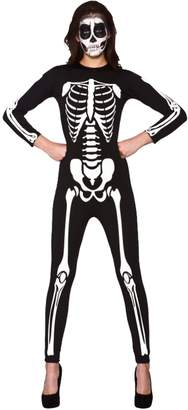 F&F Fashion & Freedom Womens Ladies Halloween Skeleton Print Top Legging Bodysuit Jumpsuit Fancy Dress Party Costumes (Medium/Large, )