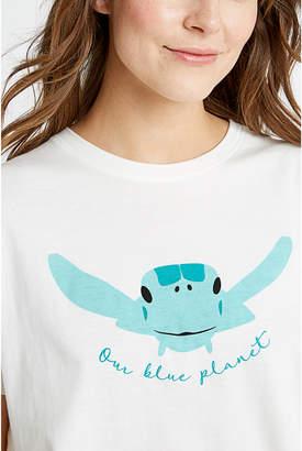 People Tree BBC Earth Green Turtle Tee Shirt - S - White/Blue