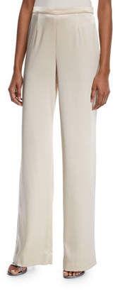St. John Liquid Satin Wide-Leg Pants, Champagne