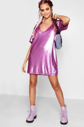 boohoo Plunge Front All Over Sequin Shift Dress