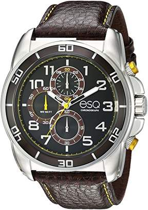 ESQ Men's 'Sport' Quartz Stainless Steel and Leather Casual Watch