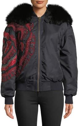Mr & Mrs Italy Mr&Mrs Italy Fox Fur-Hood Flower-Beaded Nylon Bomber Jacket