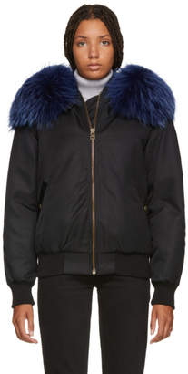 Mr & Mrs Italy Black and Blue New York Fur Bomber