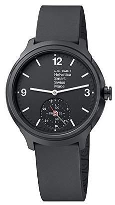 Mondaine Helvetica Smart Watch Women's/ Men's Watch, Black Silicon Strap, App with Coaching Function iOS / Andorid