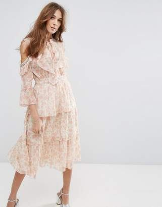 Miss Selfridge Floral Printed Ruffle Dress $88 thestylecure.com