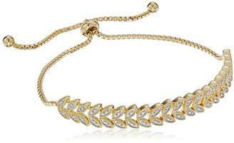 """Sterling Silver Diamond Accent Leaf-Shaped Adjustable""""Bolo"""" Bracelet with Yellow Gold Overlay"""