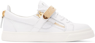 Giuseppe Zanotti White Leather London Low-Top Sneakers $765 thestylecure.com
