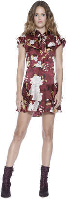 Alice + Olivia Lashay Tie Neck Ruffle Mini Dress