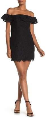 ONE ONE SIX Ruffle Sleeve Scalloped Lace Mini Dress