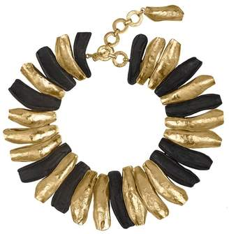 Josie Natori 24K Goldplated Brass With Darkwood Necklace