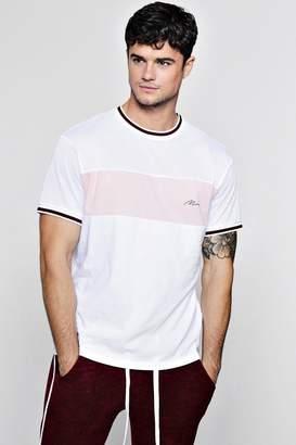 boohoo Colour Block Man Signature Mesh T-Shirt