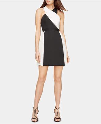 BCBGMAXAZRIA Pleated Colorblocked A-Line Dress