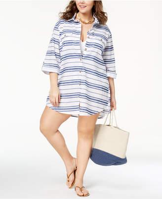 Dotti Plus Size Havana Stripe Cotton Shirtdress Cover-Up