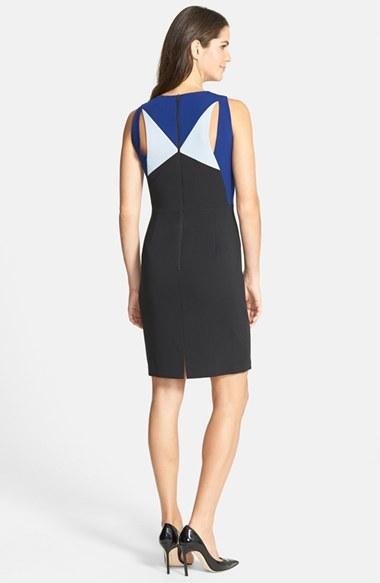 BCBGMAXAZRIA 'Karin' Cutout Colorblock Crepe Sheath Dress