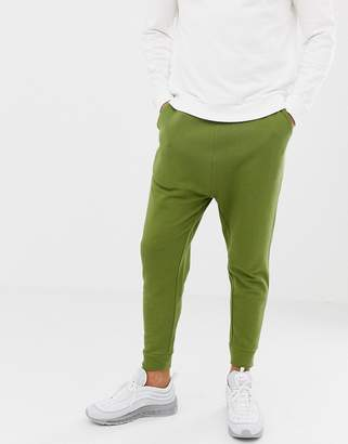 Asos DESIGN drop crotch joggers in khaki