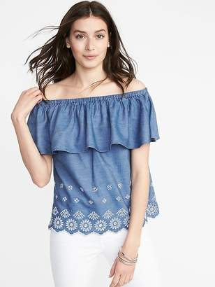 Old Navy Ruffled Off-the-Shoulder Cutwork Top for Women