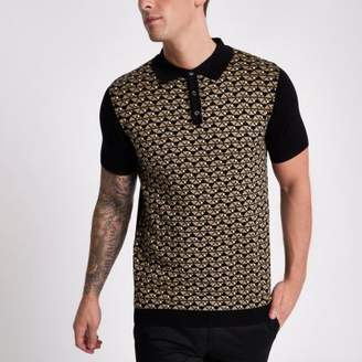 River Island Black geo knit slim fit polo shirt