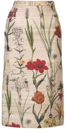 Oscar de la Renta flower pencil skirt