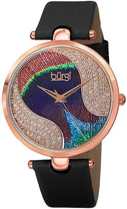 Burgi Womens Crystal Rose-Tone Black Strap Watch
