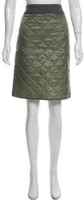 Dries Van Noten Quilted Straight Skirt Green Quilted Straight Skirt
