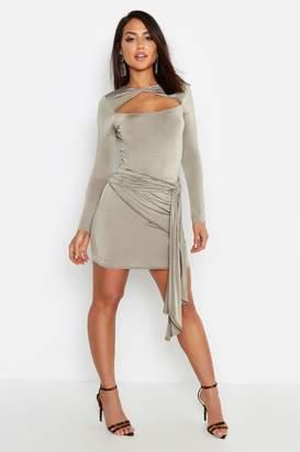 boohoo Slinky Draped Tie Side Mini Skirt