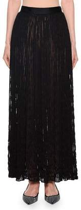 Giorgio Armani Pleated Sheer-Striped Maxi Skirt