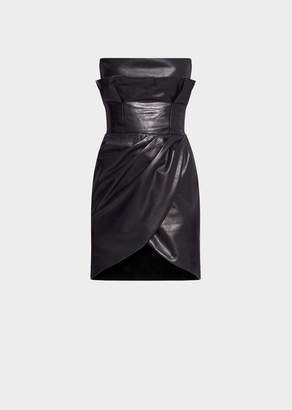 Versace Draped Leather Strapless Mini Dress