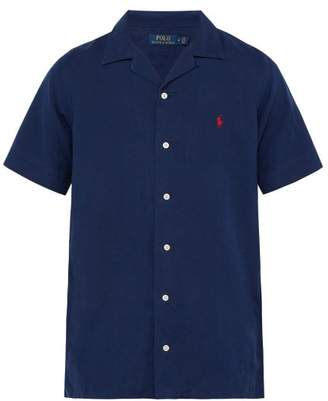 Polo Ralph Lauren Logo Embroidered Linen Blend Shirt - Mens - Navy